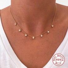 Aide небольшой круглый Циркон ожерелье с подвеской для женщин