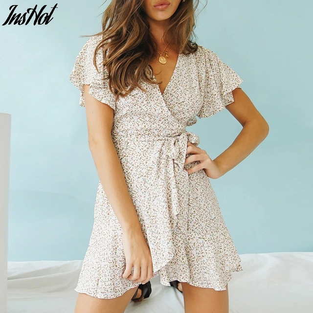 2021 Summer Boho Printed Mini Dress Women V Neck Holiday Beach Dresses A Line Short Sleeve Ruffle Wrap Dress Vestidos 1