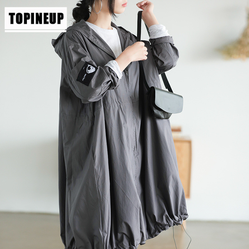 Spring Autumn oversize casual loose top hooded   trench   coat   Trench   Solid Plus Size Medium-Length Outerwear Zipper