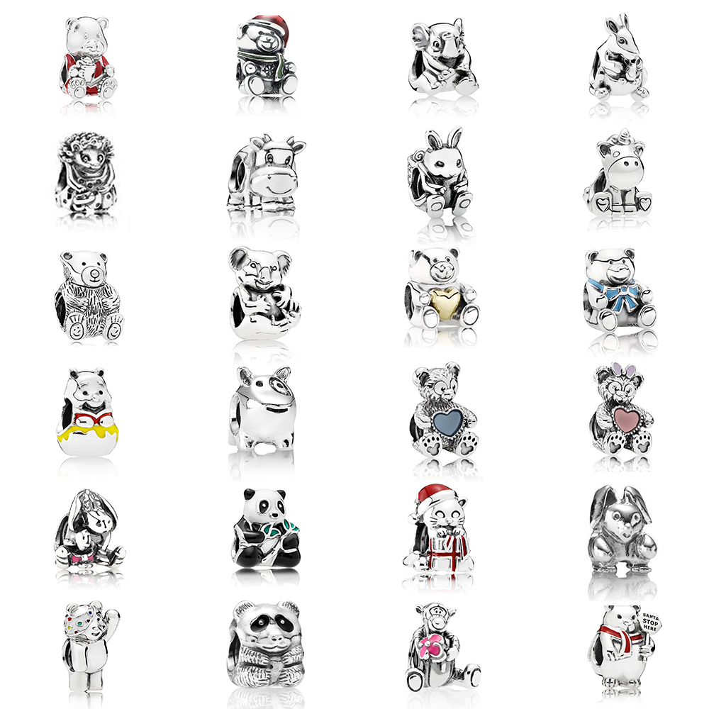 Fashion New Charm Sterling Silver Classic Bear Koala Rabbit Pug Animal String Jewelry DIY Bracelet Original Female Jewelry