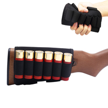 6 Round Shotgun Shell Holder Tactical 12/20 Ga Ammo Carrier Military Bullet Cartridge Pouch Airsoft Hunting Rifle Buttstock