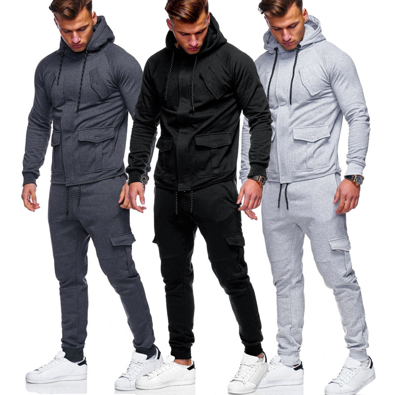 2018 Autumn And Winter New Style Dark Access Control Zipper Men Hooded Leisure Sports Suit 5261