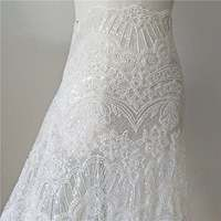 Off White Super Heavy Full Beaded Sequins Embroidery Lace Fabric By The Yard, Bridal Lace Fabric, Wedding Dress Fabric