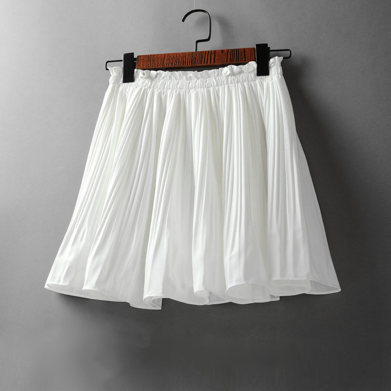 2020 Spring Summer Korean Chiffon Pleated Mini Skirt Womens High Waist Skirt Pants Sweet Ladies Elastic Waist Slim Skirts