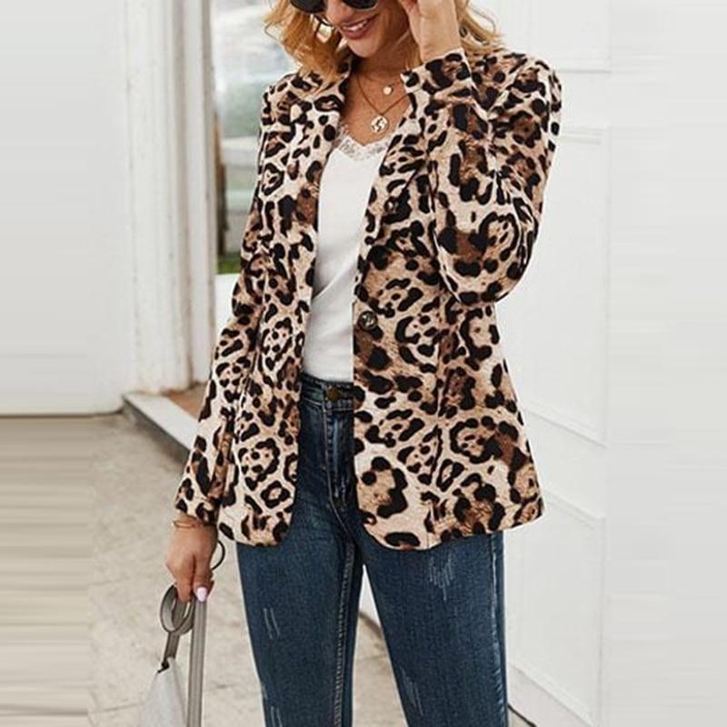 H9e1d418bb5ef469089616fa4976408c9c Fashion Trend Women Lapel Leopard Print Long Sleeves Suit Jacket Elegant Fall Winter Office Lady Cardigan Coat Casual Streetwear