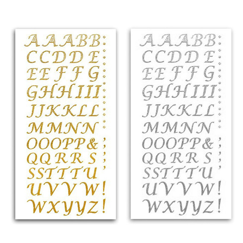 Letters Metallic Sticker Self Adhesive Silver Gold For Card DIY Glitter Alphabet Craft