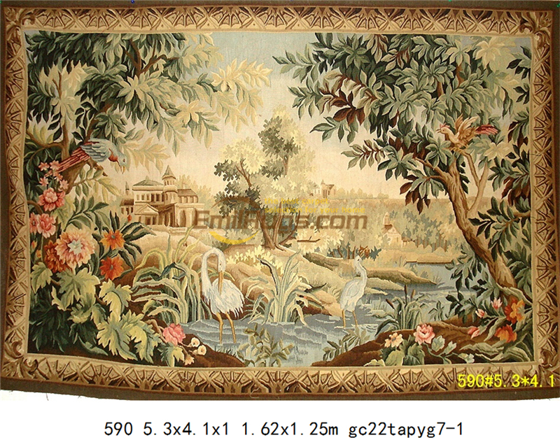Tapestry Antique European Aubusson Art Brown Fashionable Circular Household Decoration Mat Woven Tapestry floor Kits - 4
