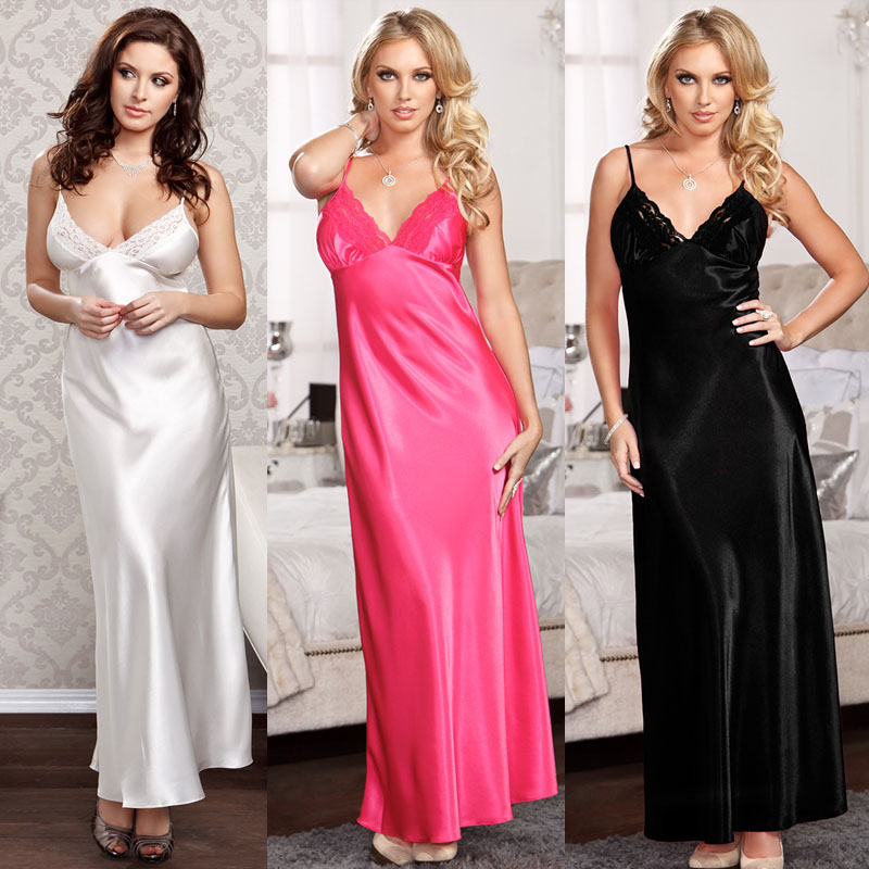 Women's Satin Silk Sleepwear Pajamas Nightdress Lingerie Night Long Dress 3FS