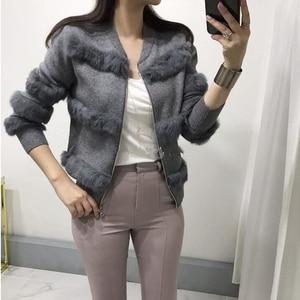 Image 2 - Chic Rabbit  Fur Patchwork Warm Knitted Jacket Jersey For Women Zipper Design Sweaters Cardigan New Elegant Female Knitting Coat