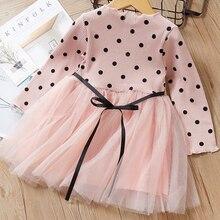 Mayfair Cabin Autumn Girls Clothes Wedding Dots Lace Gown Princess Dress Tulle Kids Elegant Flower