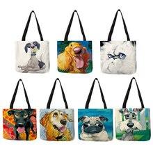 Personalizado cão arte impressão linho tote saco schnauzer golden retriever feminino tecido bolsa compras sacos para mantimentos