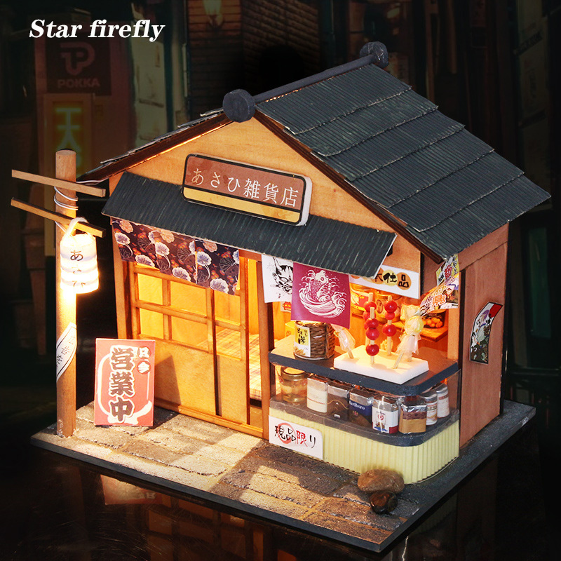 Star firefly Wooden doll house Japanese architecture <font><b>grocery</b></font> <font><b>store</b></font> 1:12 Miniature DIY dollhouse Creative <font><b>Toys</b></font> For Christmas Gift image