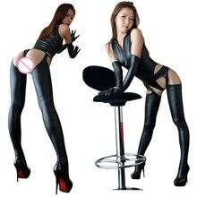 Sexy Lingerie Soft Jumpsuit Faux Leather Bodycon Bodysuit Zipper Elastic Catsuit Erotic Latex Leotard Women Sexual Underwear Sex