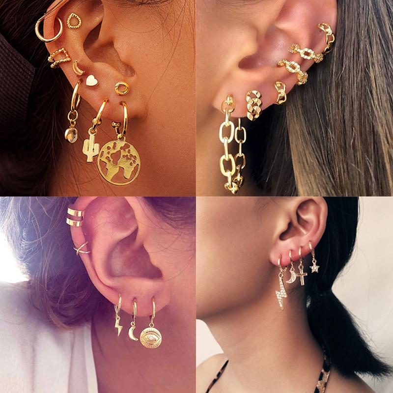 17KM 2020 New Chain Gold Earrings For Woman Trendy Geometric Map Circle Moon Star Pendant Dangle Earrings Set Female Jewelry