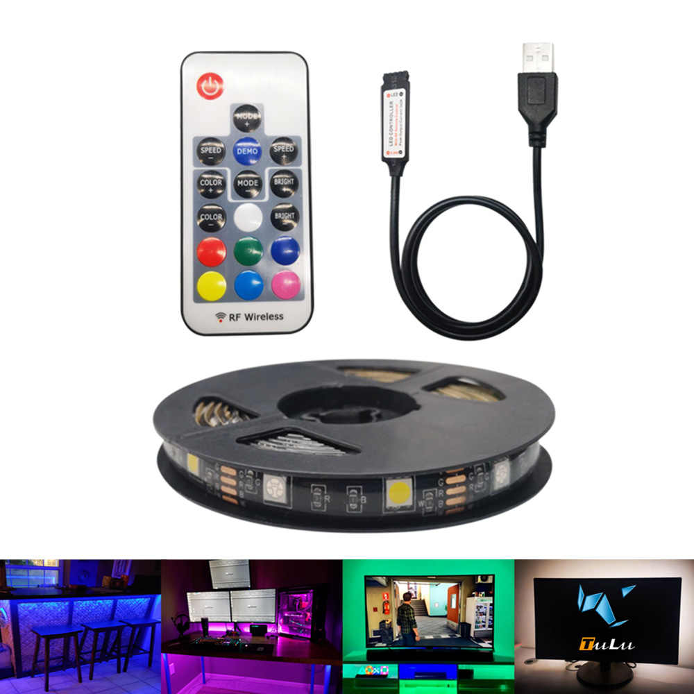 5050 SMD RGBW USB LED Strip DC 5V TV Backlight Epistar Tahan Air Fleksibel Pita Lampu LED RGB Remote Control tidak Ada Baterai