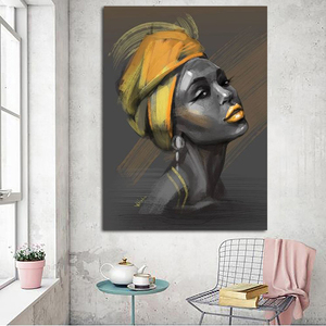 Canvas Painting Woman With Turban Poster And Prints Human Portrait On Wall Art Pictures Home Decoration For Living Room