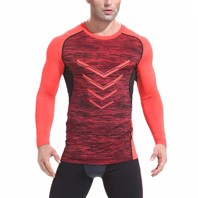 قميص رياضي مناسب للرياضيين تي شيرت ضيق للجري بأكمام طويلة مناسب للياقة البدنية وكمال الأجسام سريع الجفاف