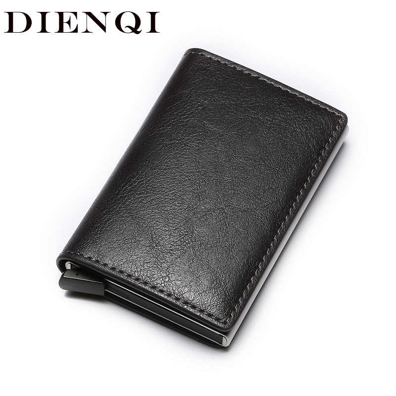 DIENQI Rfid Card Holder Men Wallets Money Bag Male Mini Thin Trifold Wallet Grey Short Purse 2019 Small Leather Slim Wallets New