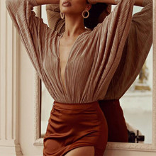 Elegant Office Lady Overall Pleated Folds Plunging V-neck Long Sleeve Bodycon Body Top 2020 Autumn Women Bodysuit Rompers(China)