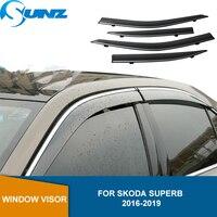 Side Window Deflector For Skoda Superb 2016 2017 2018 2019 Smoke PC Window Visor Vent Shades Sun Rain Deflector Guard SUNZ