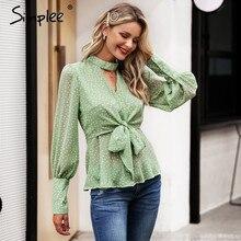 Simplee Vintage dot print v-neck women chiffon blouse shirt Bow tie high waist peplum tops Puff sleeve female tops blouse shirt