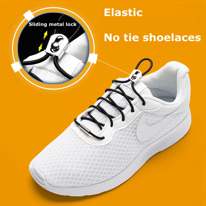1Pair No Tie Shoelaces Sliding Metal Lock Elastic Shoe Laces Kids Adult Quick Lazy Laces Round Sneakers Shoelace 26 Colors