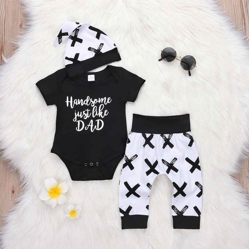 0-24M Kleinkind Kinder Baby Jungen 3Pcs Kleidung Set Neugeborenen Jungen Baumwolle Tops Strampler Hosen Leggings outfits Kleidung