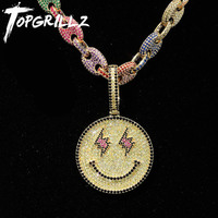 TOPGRILLZ New Smiling Face Pendant With Tennis Chain Gold Silver Bling Cubic Zircon Men's Hip hop Necklace Jewelry Gifts