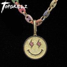 TOPGRILLZ חדש פרצוף מחייך תליון עם טניס שרשרת זהב כסף צבע בלינג מעוקב זירקון גברים של היפ הופ שרשרת תכשיטים מתנות