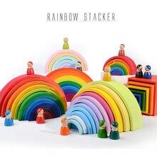 Zabawki dla niemowląt duży rozmiar Rainbow Stacker drewniane zabawki dla dzieci kreatywne Rainbow klocki Montessori edukacyjne zabawki dla dzieci