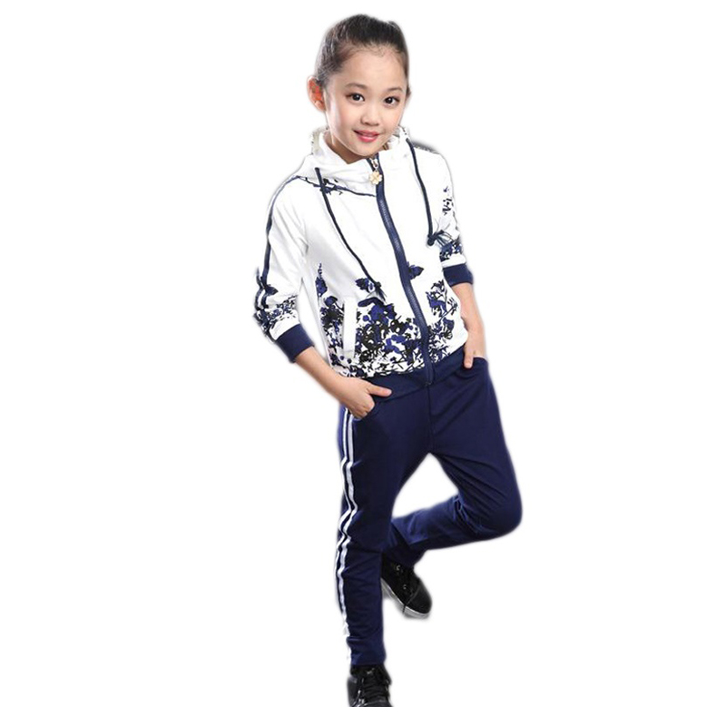 Clothing Set Girls Clothes Jacket Floral Zipper Kids Hoodies Pants Kids Tracksuit For Girls Clothing Sets Sport Suit 2021 Spring 5