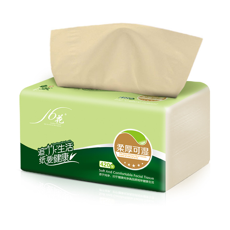 Sixteen Flower Native Bamboo Pulp Paper Extraction Non-Bleach Bamboo Fabric Toilet Paper 420 Bed Wet Water 24 Bag Wholesale
