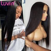 Luvin longa reta 13x4 frente do laço perucas de cabelo humano brasileiro virgem remy 30 38 40 polegadas cor natural cabelo para preto