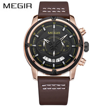 Military Chronograph MEGIR Sports Casual Watch Men WaterproofWatches Mens Top Luxury Relojes Hombre Leather Strap Male Clock oulm watches male quartz watch casual leather strap military wristwatch men s watch top brand luxury clock relojes hombre