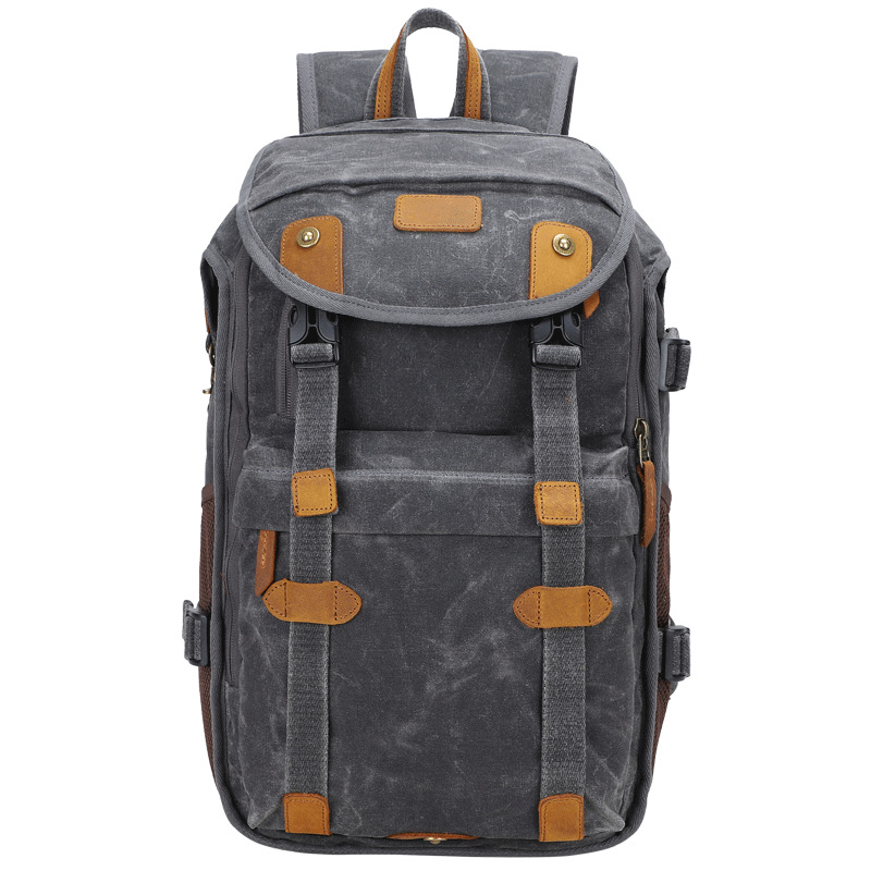 Color : Khaki Casual Retro SLR Camera Photography Bag Backpack Thick Shock-Absorbing Liner Canvas Bag Large Backpack