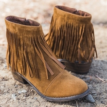 New Women Fringe Western Booties Female Casual Suede Low Heel Round Toe Boots Shoes Women Ankle Boots Zipper Platform Shoes new women fringe western booties female casual suede low heel round toe boots shoes women ankle boots zipper platform shoes
