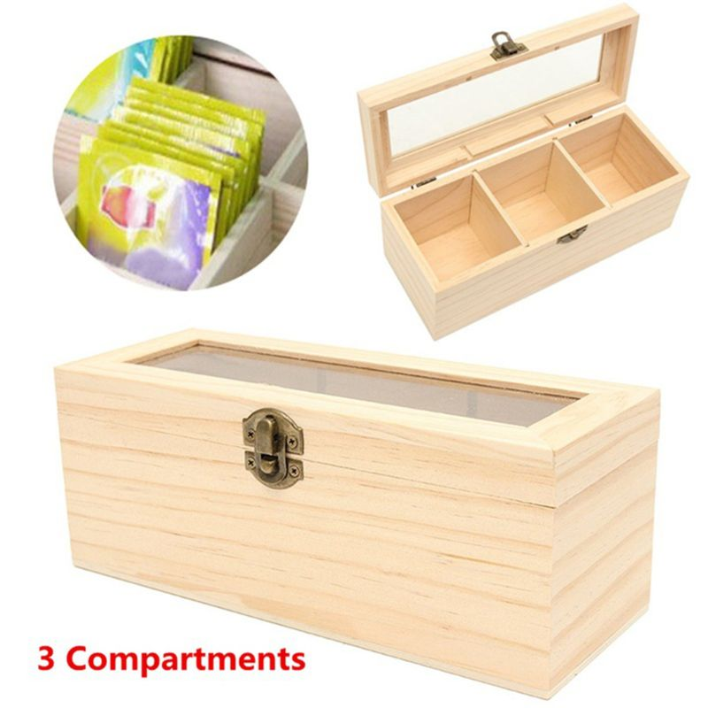 Wooden Tea Box 3 Compartments Storage Container Jewelry Accessories Box H55A