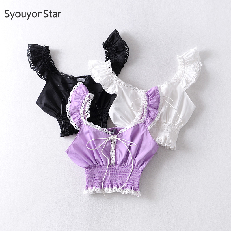 SyouyonStar Sexy Crop Top Women Lace Up Cropped 2020 Summer Ladies Tops Backless Club Beach Clothes