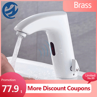 Grifo de lavabo con Sensor inteligente, sin contacto, Mezclador caliente y frío, blanco