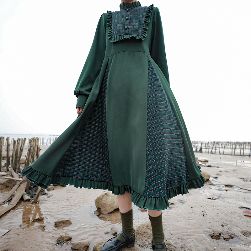 Japanese dress plaid stitching long Mori women preppy style  peter pan collar high waist victorian dress kawaii girl gothic loli