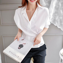 2020 New Autumn Women Shirts Batwing Sleeve V-Neck 3499 Ol Cross Deep Tunic Blouse Shirt White 9745 DG460(China)