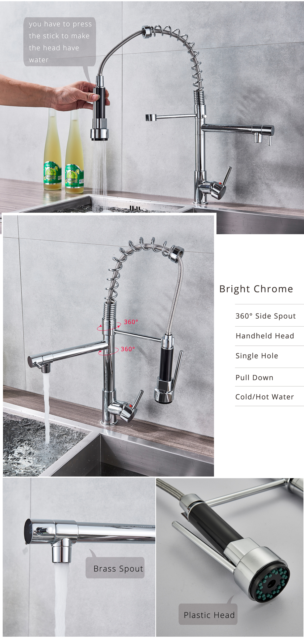 H9e1f22c9bac14ae2947e4db26893b4b5T Rozin Black and Rose Golden Spring Pull Down Kitchen Sink Faucet Hot & Cold Water Mixer Crane Tap with Dual Spout Deck Mounted