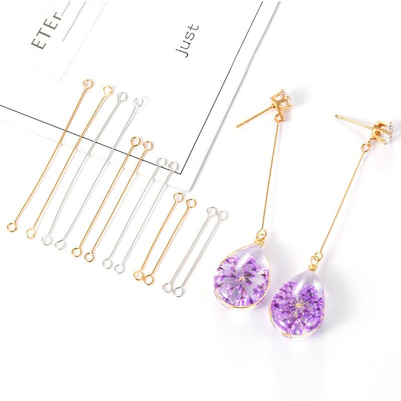 50pcs 20/25/40mm Metal Steel Double Eye Pin Earrings Charm Connector Rod For DIY Jewelry Making Earrings Connector Pins Findings