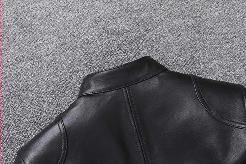 럭셔리 정품 가죽 자켓 남자 고품질 블랙 슬림 천연 양가죽 진짜 가죽 코트 스탠드 칼라 양피 겉옷