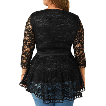 6XL Plus Size Lace Patchwork Blouse Women Spring Loong Sleeve Shirts Hollow Out Laides Tops Elegant Slim Blouses Blusas D30 2