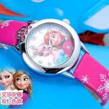 Relojes Cartoon Children Watch Cute Princess Elsa Anna watches For kids girl Student Favorite Gift Leather quartz Hot Sale
