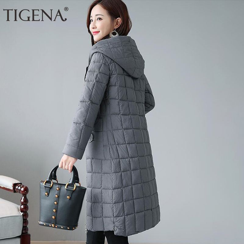 TIGENA Warm   Parka   Women 2019 Long WInter Jacket Coat For Women Long Sleeve Down Cotton Padded Hooded Winter Jacket Coat Female