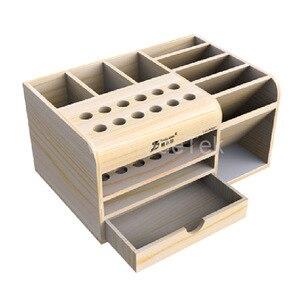 Image 2 - Mutifunctional caja de almacenamiento de madera REPARACIÓN DE Teléfono de Escritorio destornillador soporte para pinzas piezas de teléfono organizador