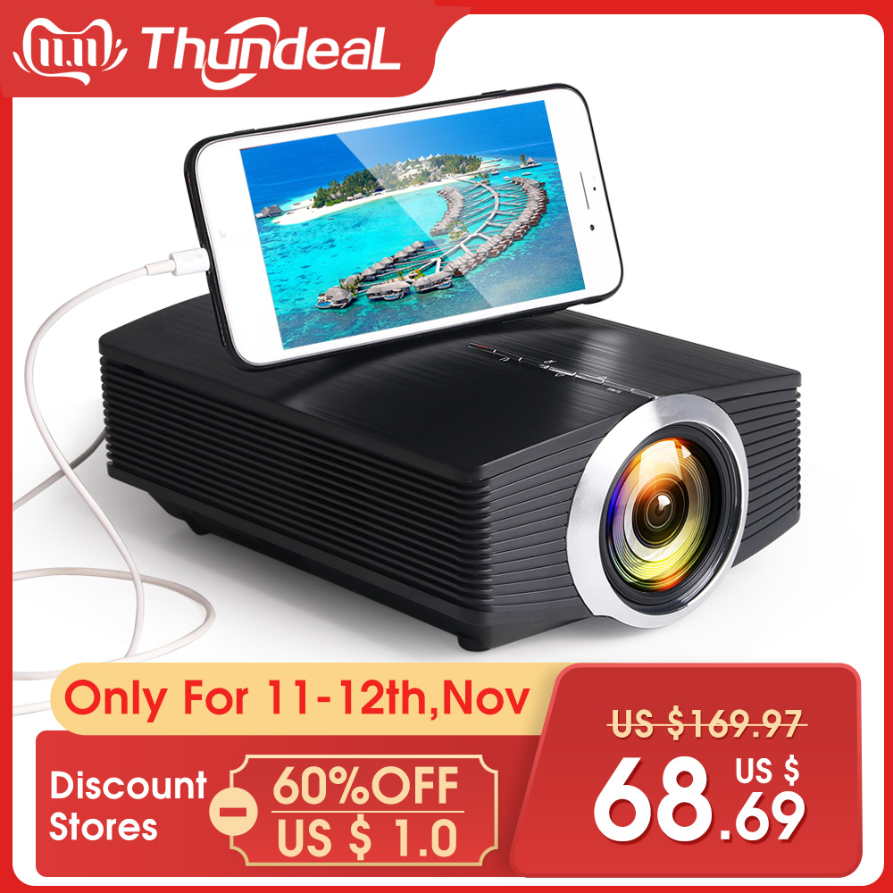 ThundeaL YG500 YG510 Gm80a Mini Projector 1800 Lumens LED LCD VGA HDMI AC3 Beamer Support 1080P YG500A 3D Portable Projector-in LCD Projectors from Consumer Electronics