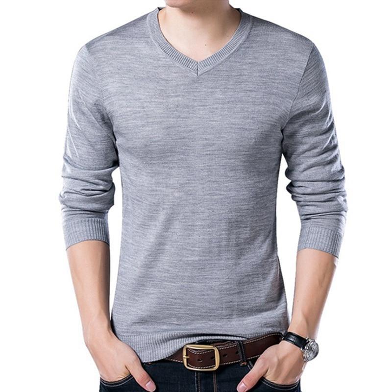 PUI men TIUA осенний Повседневный однотонный базовый Мужской свитер с v-образным вырезом тонкий мужской пуловер вязаный свитер с длинным рукавом мужской свитер размера плюс